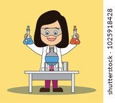 scientist woman doing research... | Shutterstock .eps vector #1025918428