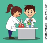 scientist man and woman doing... | Shutterstock .eps vector #1025918434