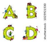 alphabet  a  b  c  d  with cute ... | Shutterstock .eps vector #1025921530