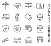 flat vector icon set   umbrella ... | Shutterstock .eps vector #1025924308