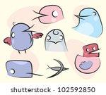 vector set of cute birds.   Shutterstock .eps vector #102592850