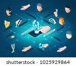biometric authentication...   Shutterstock .eps vector #1025929864