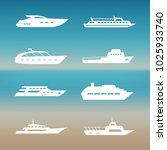 white ship and boats icons... | Shutterstock . vector #1025933740