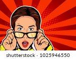 pop art surprised brunette...   Shutterstock .eps vector #1025946550