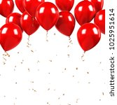 red baloons on the upstairs... | Shutterstock . vector #1025951614