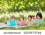 multicultural group of children ... | Shutterstock . vector #1025973766