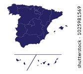 map of spain   custom   blue... | Shutterstock .eps vector #1025981569