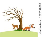tree cartoon design with fox or ... | Shutterstock .eps vector #1025990233