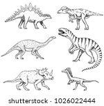dinosaurs set  triceratops ... | Shutterstock .eps vector #1026022444