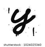 graffiti spray font isolated on ... | Shutterstock .eps vector #1026025360