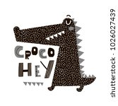 cute cartoon crocodile print.... | Shutterstock . vector #1026027439