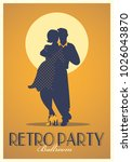 retro party poster. silhouettes ... | Shutterstock .eps vector #1026043870