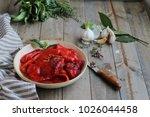 homemade preserves.  red... | Shutterstock . vector #1026044458