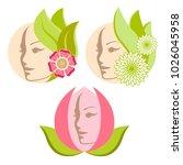 beauty female face logo design. ... | Shutterstock .eps vector #1026045958