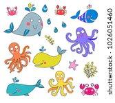vector set of sea animals ... | Shutterstock .eps vector #1026051460