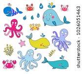 vector set of sea animals ...   Shutterstock .eps vector #1026051463