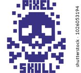 hacker sign with pixel skull  ... | Shutterstock .eps vector #1026053194