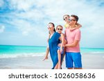happy beautiful family of four...   Shutterstock . vector #1026058636
