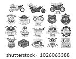 hand drawn set of motorbike... | Shutterstock .eps vector #1026063388