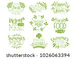 green hand drawn vegetable menu ... | Shutterstock .eps vector #1026063394