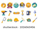 cartoon icons set with tools... | Shutterstock .eps vector #1026063406