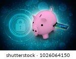3d rendering pink piggy bank... | Shutterstock . vector #1026064150