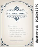 vintage frame with beautiful...   Shutterstock .eps vector #1026065590