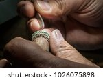 inlaying gemstone on the ring ... | Shutterstock . vector #1026075898