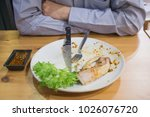 man with fork  knife  waste... | Shutterstock . vector #1026076720