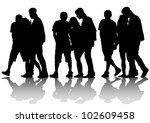 vector drawing silhouette crowds | Shutterstock .eps vector #102609458