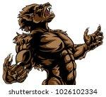 howling werewolf scary wolf man ... | Shutterstock .eps vector #1026102334