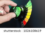 hand turning a knob with... | Shutterstock . vector #1026108619