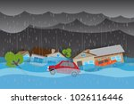 rain and flood | Shutterstock .eps vector #1026116446