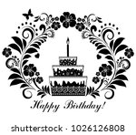 happy birthday card with cake... | Shutterstock .eps vector #1026126808