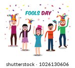 people celebration fools day  | Shutterstock .eps vector #1026130606