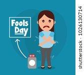 fools day woman joke humor... | Shutterstock .eps vector #1026130714