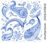 set of indigo blue hand painted ... | Shutterstock . vector #1026145810