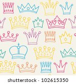 Seamless color crown pattern. Vector illustration
