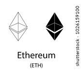 black ethereum cryptocurrency... | Shutterstock .eps vector #1026159100