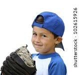Hispanic Baseball Boy With Blu...