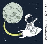 astronaut come back after... | Shutterstock .eps vector #1026162154