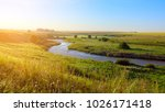 sunny summer landscape with... | Shutterstock . vector #1026171418