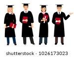 student graduation set...   Shutterstock . vector #1026173023