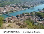 Small photo of Two bridges over the river Rhone in Tournon-sur-Rhone in France