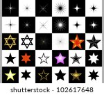set of stars on a black and... | Shutterstock . vector #102617648