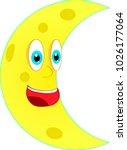 cartoon smiling half of moon on ... | Shutterstock .eps vector #1026177064