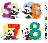 set of cute baby panda bears...   Shutterstock .eps vector #1026177928