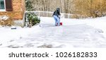 man shoveling and clearing...   Shutterstock . vector #1026182833