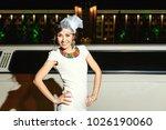 young brunette girl in white... | Shutterstock . vector #1026190060