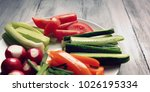 white plate with vegetables for ... | Shutterstock . vector #1026195334